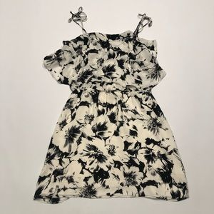 🍑 Parker silk summer floral dress black white new